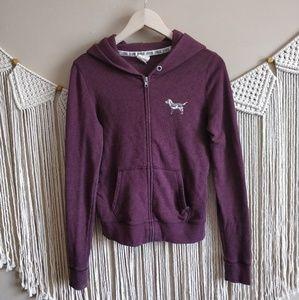 PINK Victoria's Secret Maroon Zip Hoodie Jacket XS